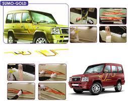 tata sumo black galio o e type fitment car graphics for tata sumo gold orange