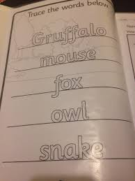 twinkl writing paper teaching with twinkl gruffalo petitmew first i wanted to work on his writing he is left handed and often he leaves a very faint line here he wrote inside the letters as he sounded them out and
