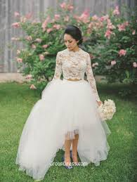 white lace wedding dress white two sleeved lace tulle high low fashion a line