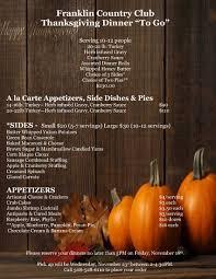 franklin country club calendar event thanksgiving to go