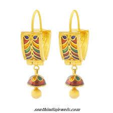 gold jhumka hoop earrings 22kt yellow gold hoop earrings south india jewels