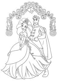Prince Naveen And Princess Tiana Wedding Day In Princess And The Princess And The Frog Colouring Pages