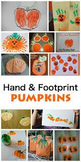 kids handprint and footprint pumpkin crafts emma owl