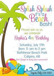 beach themed kids birthday party party birthday invitation