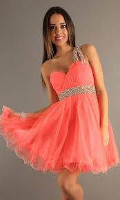 coral pleated sequined dave u0026 johnny 6726 one shoulder dress
