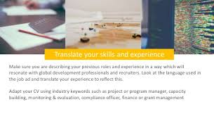 skills and experience keyword transitioning to a global development job here u0027s how to write your cv