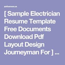 Sample Journeyman Electrician Resume by 100 Electrician Resume Template Free Resume Format Download In