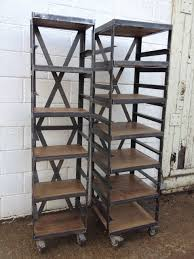 Shelves On Wheels by Shelving Polished Steel Reclaimed Timber