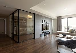 glass partition walls for home apartment with a retractable interior wall