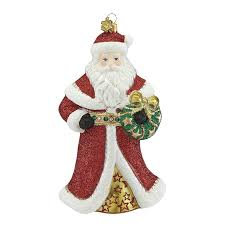 santa and wreath reed and barton blown glass ornament