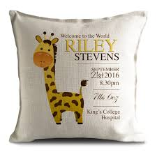 home decor giraffe personalised new baby cushion pillow cover christening gift