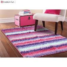 Shaggy Area Rugs Pink Shag Area Rug Striped Girls Kids Bedroom Furniture Accent