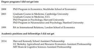 Academic Resume Academic Cv Of Failures U2013 A Motivational Lesson Economic