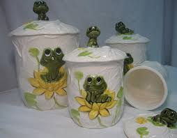 neil the frog complete 8 piece kitchen ceramic canister set by