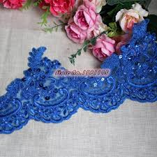 lace ribbon wholesale 14 5cm wide royal blue lace ribbon dress trimmings with pearls and