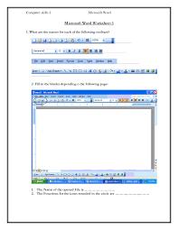 computer skills worksheets computer skills 1 microsoft word