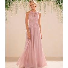 2017 dusty pink bridesmaid dresses long country style halter neck