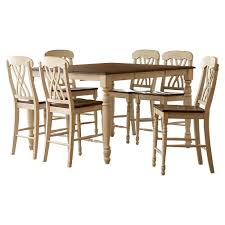 Counter Height Dining Room Furniture Homesullivan 7 Antique White And Oak Bar Table Set 401393w