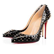 christian louboutin follies spikes patent leather black