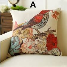 Country Style Sofa by American Country Style Bird Pillow 18 Inch Flower Linen Cushions