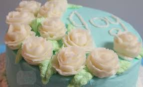 Tiffany Blue Flowers Buttercream Cake Icing And Writing Joy