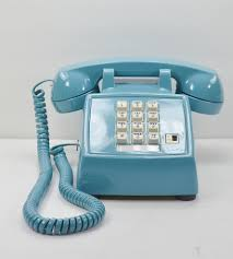 vintage desk telephone teal blue w white buttons home decor