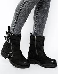 biker boots brands asos ant leather biker boots in black lyst