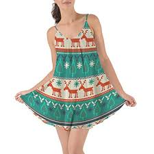 Queen of Cases Ugly Christmas Sweater Beach Cover Up Dress at Amazon