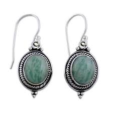 silver forest earrings handmade sterling silver forest charm amazonite earrings india