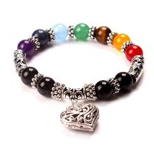 bead bracelet with heart charm images Multi colored chakra bead bracelet with heart charm sassenach jpg