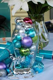 christmas silver decorations delightful blue table window