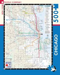 Subway Map Chicago by Amazon Com New York Puzzle Company Chicago Transit Cta Transit