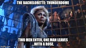 The Bachelorette Meme - the bachelorette thunderdome with a rose two men enter one