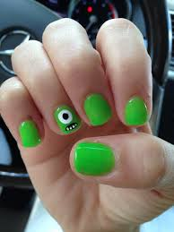 monsters inc monsters university mike wazowski gelish nails