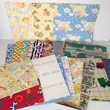 flat wrapping paper lot vtg gift wrapping paper collection flat wrap baby 1 5