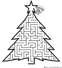 free printable christmas maze tree