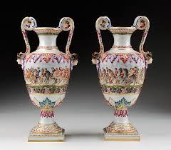 Capodimonte Vases Antique Pr Of Rudolstadt Capodimonte Style Urns From Piatik On Ruby Lane