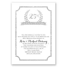 25th crest faux glitter anniversary invitation invitations by dawn