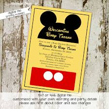 Baby Boy First Birthday Invitation Cards Mickey Mouse Birthday Invitation Disney Baby Shower Diaper