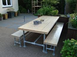 outdoor picnic table made with kee klamp pipe fittings pipe