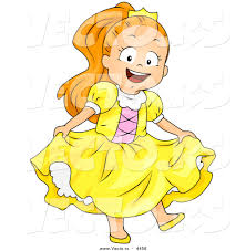 halloween cartoon drawings vector of a happy halloween cartoon in a princess costume by
