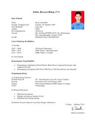 form daftar riwayat hidup pdf contoh daftar riwayat hidup cv pdf
