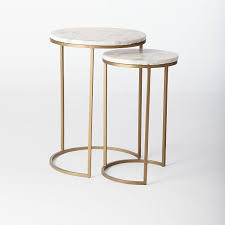 round nesting side tables set marble antique brass west elm