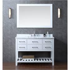 white wood bathroom vanity and turquoise mosaic tile bathroom