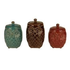 owl kitchen canisters farm owl canisters set of 3 kirklands