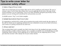 Samples Of Resume Cover Letters by Consumer Safety Officer Cover Letter
