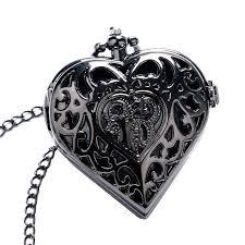 ladies pocket watch necklace images Steampunk charm dark black heart shape hollow design quartz pocket jpg