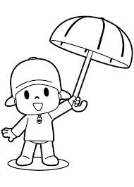 pocoyo umbrella coloring pocoyo umbrella