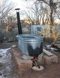 Chofu Wood Stove by Wood Fired Stock Tank Tub On 1 4 Size Adobe Block Base With