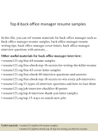 Sample Resume For Medical Office Manager by Sample Resume Back Office Manager Corpedo Com